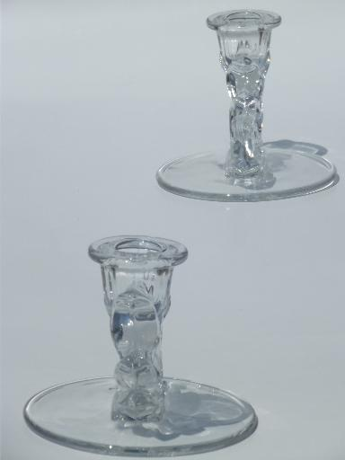 Fostoria Baroque glass candlesticks, single light candle sticks set