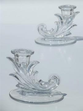 Fostoria Baroque glass candlesticks, single light candle sticks set