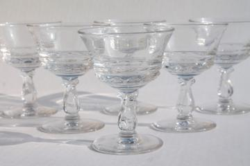 Fostoria Century champagne coupes, crystal clear glass vintage champagne cocktail glasses