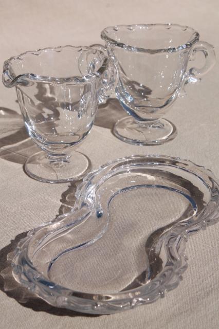 Fostoria Century Pattern Vintage Glass Mini Creamer Amp Sugar W Tray