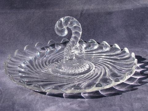 Fostoria Colony pattern, vintage elegant glass sandwich plate, tray w/ center handle