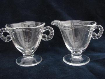 Fostoria Coronet pattern, vintage elegant glass cream pitcher & sugar