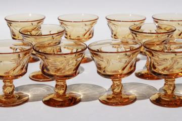 Fostoria Jamestown amber glass stemware, set of 10 sherbets or champagne glasses