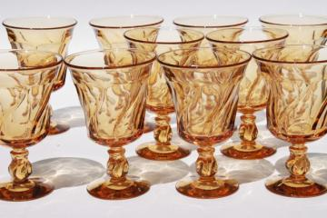 Fostoria Jamestown amber glass stemware, set of 10 water goblets or large wine glasses