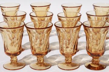 Fostoria Jamestown amber glass stemware, set of 12 parfaits / juice glasses