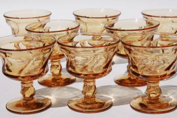 Fostoria Jamestown amber glass stemware, set of 8 sherbets or champagne glasses