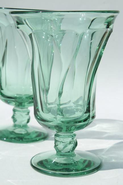 Fostoria Jamestown, green glass iced tea glasses, large wine or water goblets