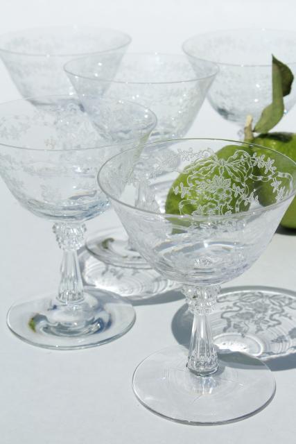 Fostoria Romance Etched Glass Stemware Crystal Clear