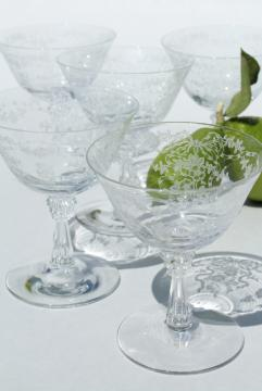 Fostoria Romance etched glass stemware, crystal clear vintage sherbets or champagne glasses