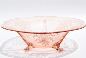 Fostoria Romance etched glass three toed bowl, vintage pink depression glass centerpiece
