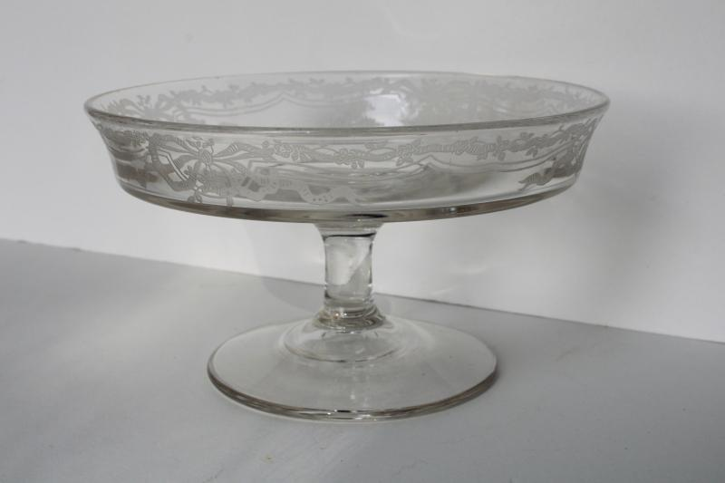 Fostoria Romance pattern etched glass cheese stand or bonbon plate, tiny pede