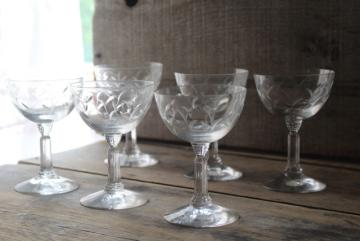 Fostoria Sprite pattern wheel cut stemware, 1950s vintage martini cocktail glasses
