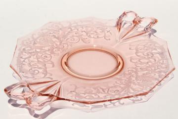 Fostoria Versailles etch vintage pink glass cake plate w/ tray handles