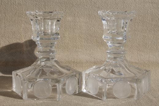 Fostoria coin glass candlesticks, pair of vintage clear glass candle holders w/ embossed coins