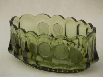 Fostoria coin glass oval bowl, vintage avocado green or olive green glass