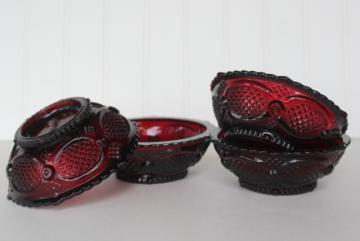 Fostoria royal ruby red glass berry bowls or dessert dishes, Avon Cape Cod pattern