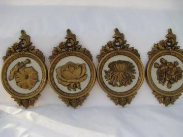 Four Seasons flowers, set of retro Syroco gold plastic wall plaques