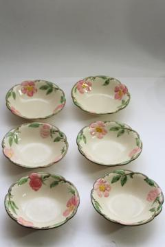 Franciscan Desert Rose china cereal bowls set of six, vintage California pottery