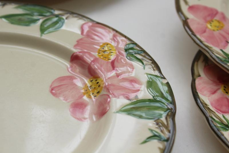 Franciscan Desert Rose china luncheon plates set of six, vintage California pottery