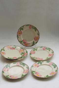 Franciscan Desert Rose china salad plates set of six, vintage California pottery