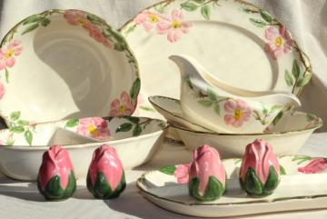 Franciscan Desert Rose china serving pieces, mid-century vintage tableware w/ pink flowers