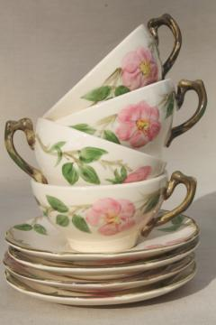 Franciscan Desert Rose cups & saucers set of four, vintage USA backstamp