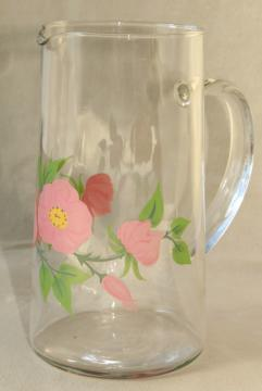Franciscan Desert Rose go along glassware, clear glass pitcher w/ pink flowers