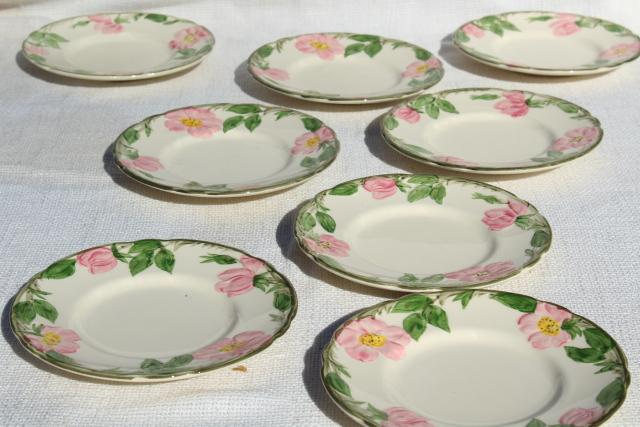 Franciscan pottery Desert Rose china, shabby vintage bread & butter or dessert plates