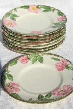 Franciscan pottery Desert Rose china, shabby vintage bread & butter or dessert plates
