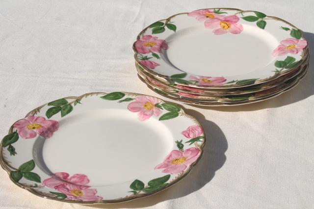Franciscan pottery Desert Rose pattern vintage dinner plates lot of five & Franciscan pottery Desert Rose pattern vintage dinner plates lot of ...