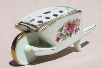 French Bouquet vintage Norcrest Japan china flower frog wheelbarrow planter vase