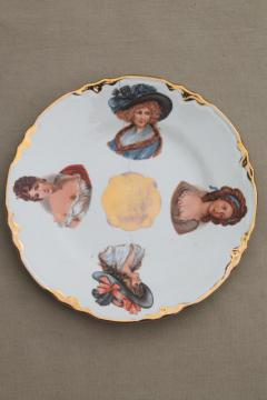 French belles dames antique lady's portrait plate, turn of the century vintage china
