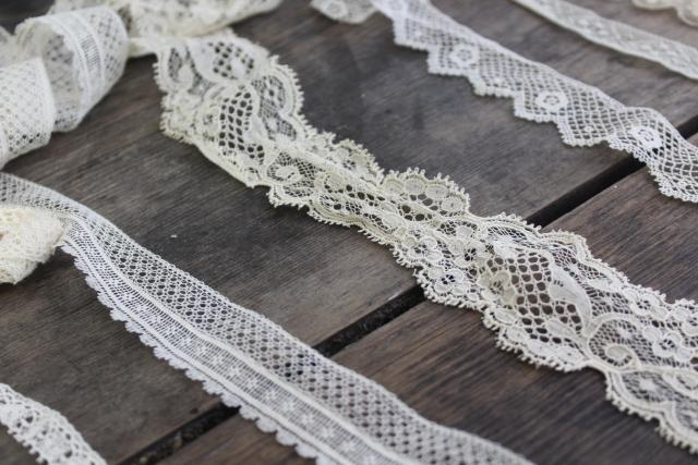 French cotton lace edgings, vintage fine lace trim for heirloom sewing or antique doll clothes