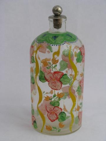 French country or Italian style vintage painted flowers glass decanter or oil bottle
