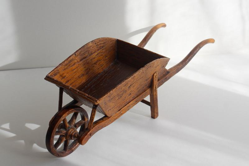 French country vintage rustic wood look plastic wheelbarrow for planter or flowers