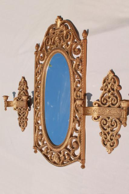 French empire style vintage gold Syroco plastic frame wall mirror & candle sconces