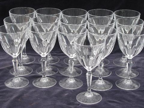 & French glass crystal stemware 16 water goblets / wine glasses
