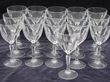 French glass crystal stemware, 16 water goblets / wine glasses
