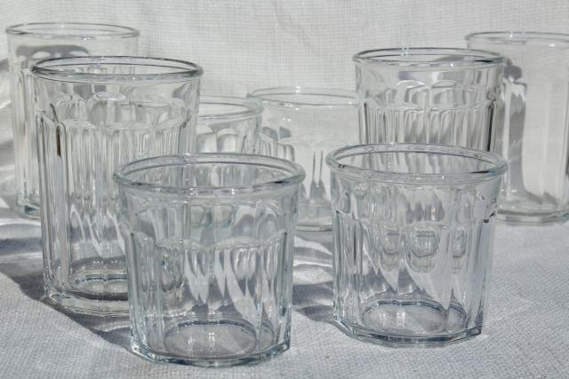 French glass jelly jars, vintage Luminarc working glasses, tumblers in two sizes