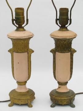French rose pink and gold garlands, pair antique vintage ornate cast metal table lamps