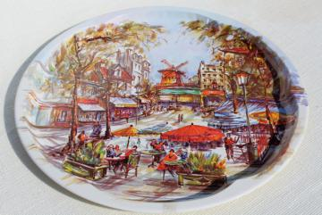 French street scene vintage round tin table top serving tray, Daher Decorated Ware