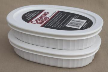 French white Corning Ware oval gratin individual casseroles w/ snap on plastic lids