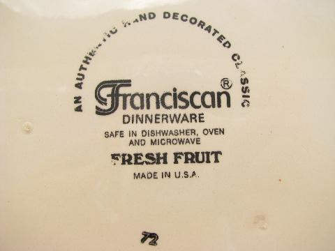 Fresh Fruit vintage USA Franciscan pottery dishes, plates, bowls, cups