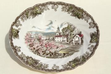 Friendly Village Johnson Bros transferware china oval vegetable serving bowl