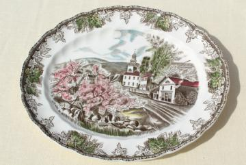Friendly Village Johnson Bros transferware china platter, village green scene