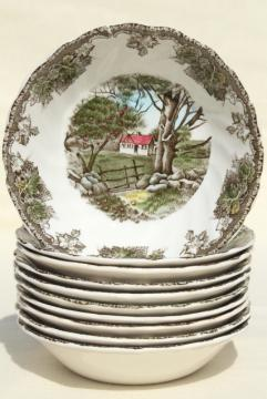 Friendly Village Johnson Bros vintage china, set of 10 berry bowls