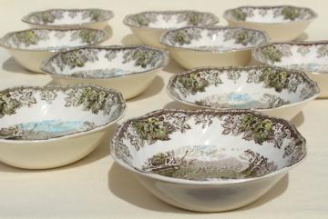 Friendly Village Johnson Bros vintage china, set of 10 square cereal bowls