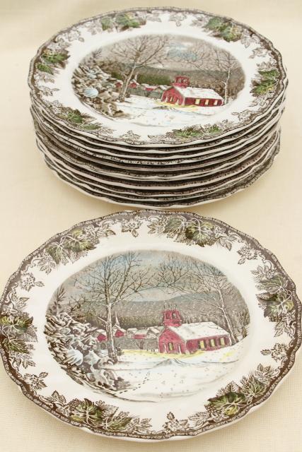Friendly Village Johnson Bros vintage china set of 12 dinner plates schoolhouse scene & Friendly Village Johnson Bros vintage china set of 12 dinner plates ...