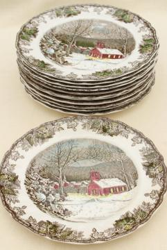 Friendly Village Johnson Bros vintage china, set of 12 dinner plates schoolhouse scene