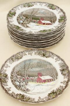 Friendly Village Johnson Bros vintage china, set of 12 dinner plates schoolhouse scene